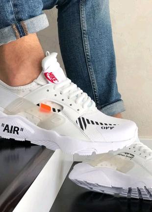 Мужские кроссовки Nike Air Huarache белые с чёрным