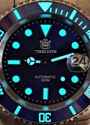 Мужские часы steeldive 300m automatic sapphire blue новые