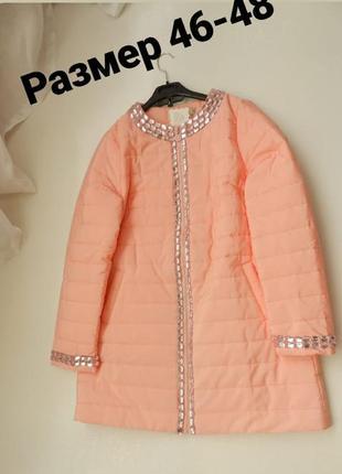 ✅ красивый плащик пальто в камнях демисезон нежно розовый цвет...