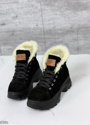 Черные зимние ботинки из натуральной замши