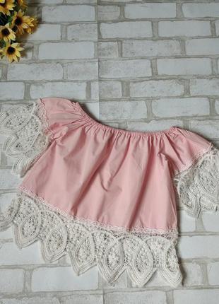 Блузка нежно розовая с кружевом на девочку