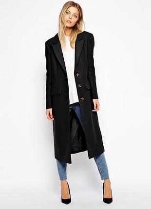 Актуальное прямое шерстяное миди пальто №46