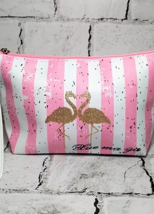 Косметичка женская Фламинго, розовая