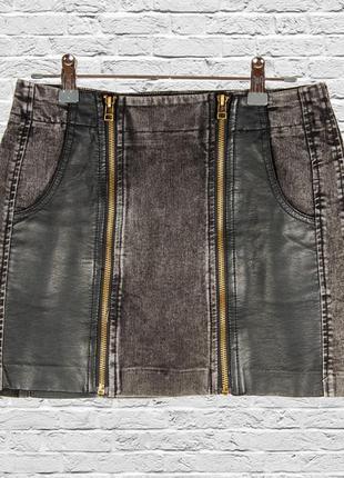 Черная кожаная юбка короткая, черная юбка джинсовая