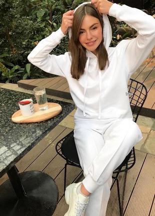 Стильный белый спортивный костюм турецкая двухнить