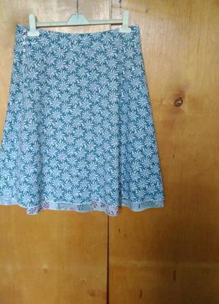 Свободная летняя юбка в цветочный принт трапеция коттон индия ...