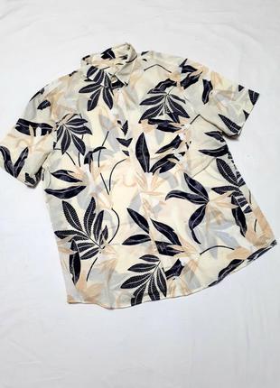 Шведка рубашка с короткими рукавами тропический принт большого...