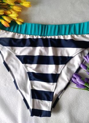 👙 низ от купальника плавки в бело синюю полоску бирюза р 14 / ...