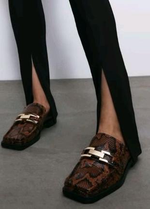 Кожаные мюли туфли zara с анималистичным принтом, натуральная кож