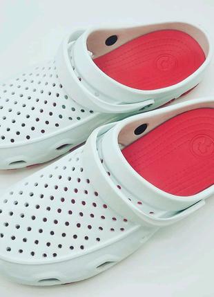 Сабо Crocs-SD 01-617 Бело-Красные.41-45р.