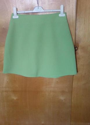 Юбка юбочка спідниця мини трапеция салатовая р 12 или 44-46