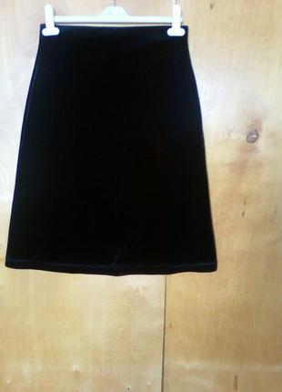 Юбка юбочка спідниця миди по колено черная трикотажная велюров...