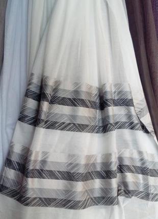 Тюль лен с полосками серого цвета