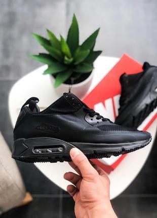 ❄️зимние❄️nike air max mid winter black, мужские чёрные кроссо...