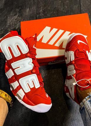 Шикарные осенние кроссовки nike uptempo red white, мужские\жен...