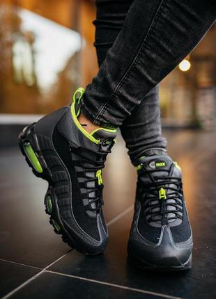 Nike air max 95 sneakerboot black volt, мужские ❄️зимние❄️крос...
