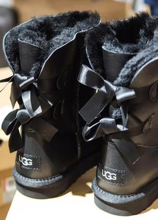 Угги 2 банта, женские кожаные зимние сапоги/уги чёрные, мех. ugg.
