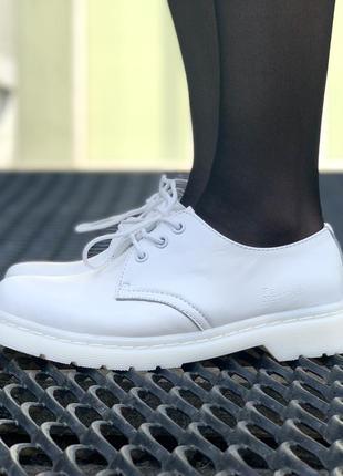 💎dr martens 1461 mono white💎женские /мужские белые кожаные туф...