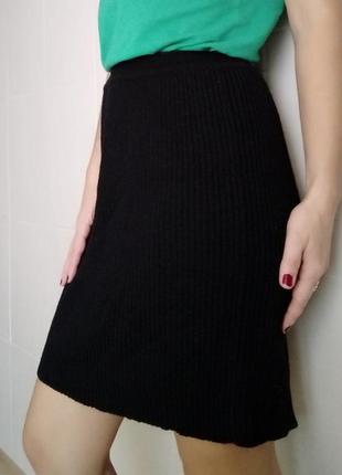 Тёплая юбка карандаш вязаная с