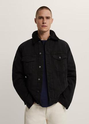 Утепленная джинсовка zara, черная джинсовка zara, куртка zara!