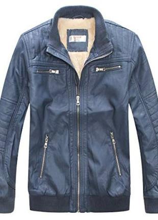 Куртка ветровка на шерпе с pu кожи для мальчика 7-8 лет