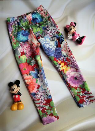Яркие плотные лосины стрейчевые штаны цветочный принт 3-4 года