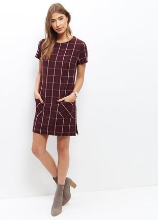 Платье-трапеция в крупную клетку new look бордовое клетчатое п...