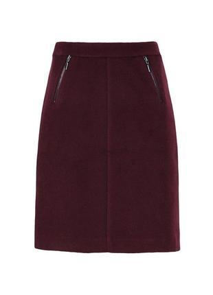 Теплая юбка-трапеция с шерстью в составе marks&spencer зимняя ...