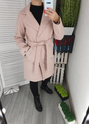 Женское кашемировое пальто пудра