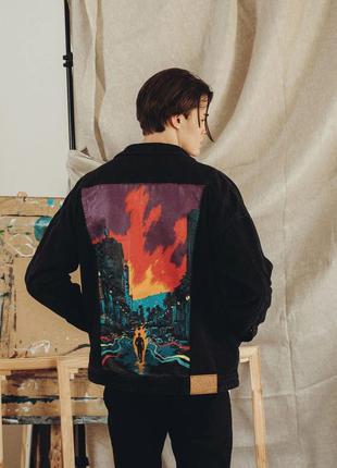 Art. pky0285. джинсова куртка staff black hand made c3