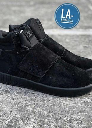 Мужские осенние кроссовки adidas tubular invader strap black