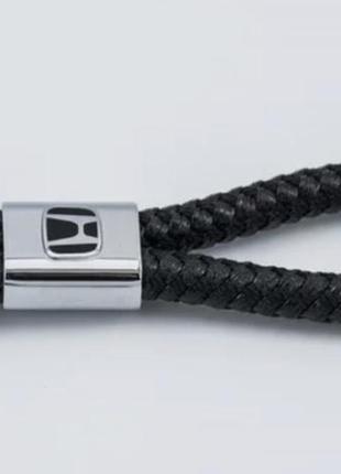 Кожаный плетёный брелок для ключей