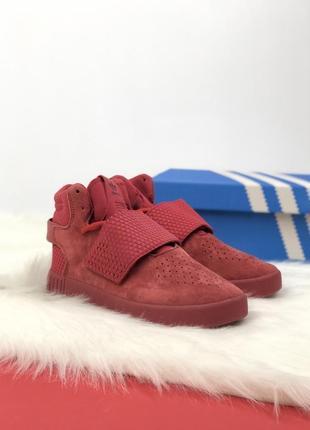 Отличные женские осенние кроссовки adidas tubular red