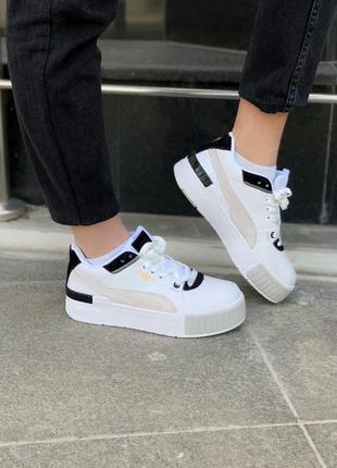 Puma cali sport mix white black женские кроссовки наложка