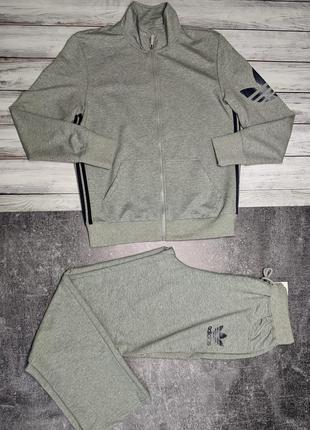 Мужской спортивный костюм adidas трикотажный серый