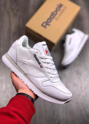 Шикарные мужские кроссовки reebok classic all white (демисезон...