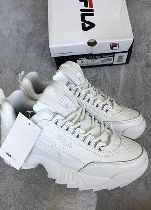 Шикарные женские весенние кроссовки fila disruptor 2 white