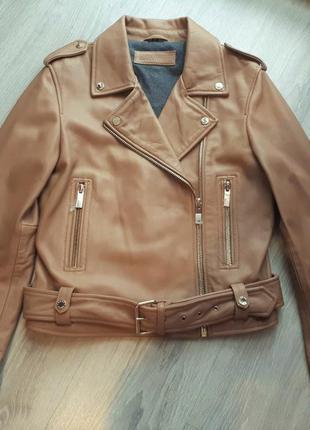 Новая косуха oakwood франция премиум куртка100% кожа бежево-ка...