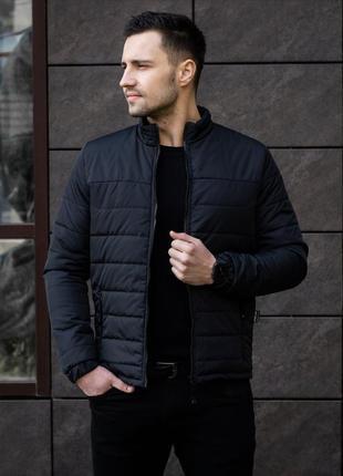 Мужская черная куртка демисезонная весна/осень стёганная курто...