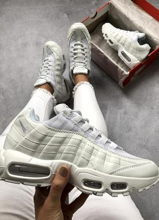 Шикарные женские кроссовки nike air max 95 all white 😍 (весна/...