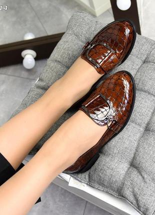 Кожаные лаковые шофёры натуральная кожа женские туфли