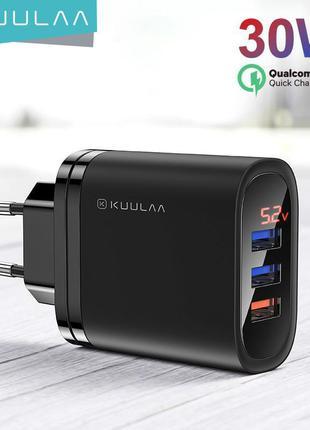 Зарядка Kuulaa 30W QC3.0 PD на 3 USB порта + экран