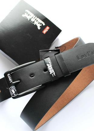 Мужской кожаный ремень черная пряжка