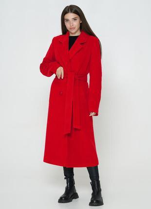 Красное кашемировое длинное пальто