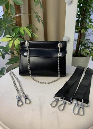 Новая чёрная сумка трансформер стильная красивая поясная сумка