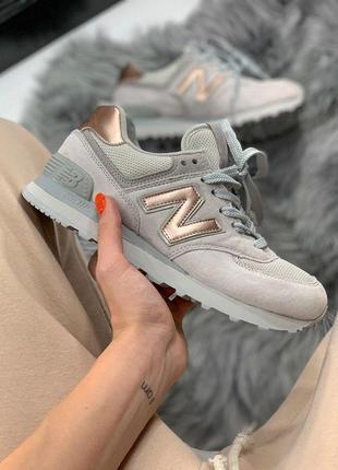 Шикарные женские кроссовки new balance 574 grey/ gold 😍 (весна...