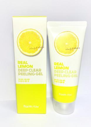 Очищающий пилинг-гель для лица farmstay real lemon deep clear ...