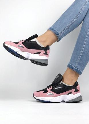 Шикарные женские кроссовки adidas falcon core black pink 😍 (ве...