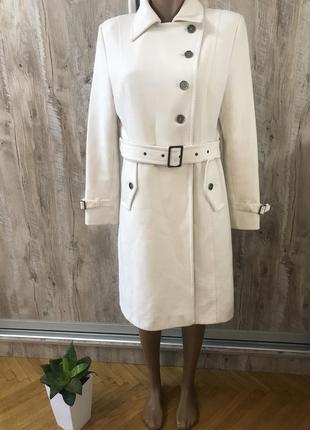 Белое пальто тренч плащ прямое классическое marks&spencer