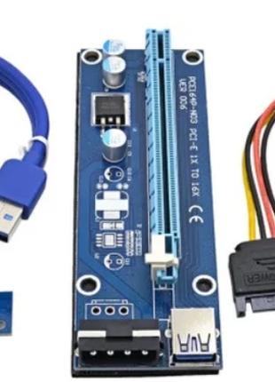 Райзер v006 USB 3.0 PCI-E 1X - 16X Riser для видеокарт 60см molex